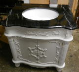 Bespoke Ornate Single Bowl Vanity Unit with Solid Marble Top